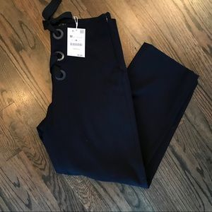 Zara NWT Navy Lace Up Cropped Pants